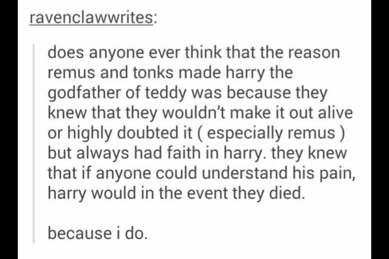 This very bittersweet thought. Lupin knew Harry would treat his son right, because Harry never was.