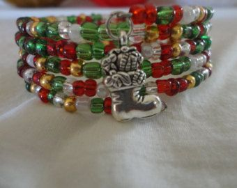 Memory Wire Bracelet-Christmas with a Christmas Tree Charm