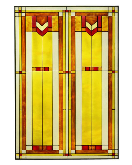 """Arts and Crafts Prairie Window Red 20"""" x 30"""" Art Glass Panel"""