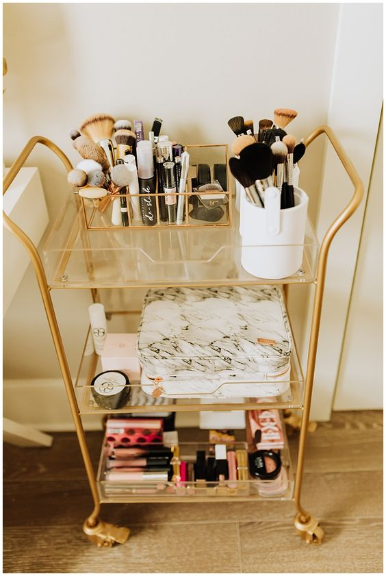 gold and clear cart, gold and marble shelf, New Orleans Blogger, Fashion Blogger, Women's Fashion, New Orleans, Nola Blogger, Louisiana Blogger,  Haute Off The Rack, Fashion Blogger, Lifestyle Blogger, Life On Darlington, Instagram Picture Ideas, World Market, World Market Furniture, #AD, Vanity, Office Ideas, Office Decor, Circle Desk, Gold Rack, Shoe Display, Handbag Display, Makeup Organization, Office Organization, Jewelry Display, Circle Mirror, Gold Cart, Marble Makeup bag, Makeup Cart,