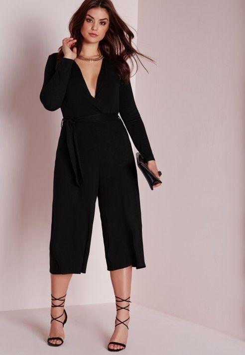 Plus Size Jersey Wrap Plunge Jumpsuit