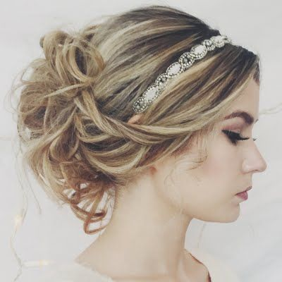 Gorgeous up do - messy which makes it easy ish and the sparkly head band makes it look special.