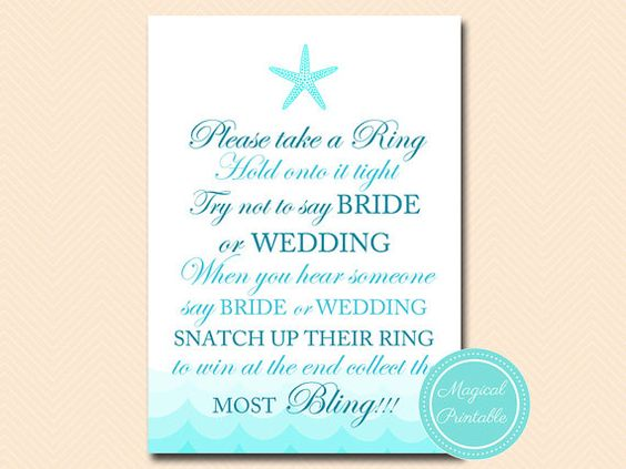 don't say wedding or bride take a ring game by MagicalPrintable