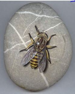 "Roberto Rizzo: ""Tafano"" bee painted on a stone"