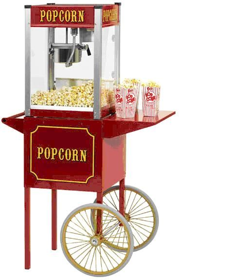 A beautiful theater style Popcorn Machine rental which includes cart, 100 servings of prepared kernels, and 6 ounce popcorn bags. Make movie style popcorn with this easy to use machine. Instructions included. Call 800 873-8989 to rent.