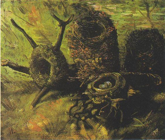 Van Gogh - Stillleben mit fünf Vogelnestern, Still Life with Birds Nests, 1885, Van Gogh Museum, Amsterdam, Wikipedia