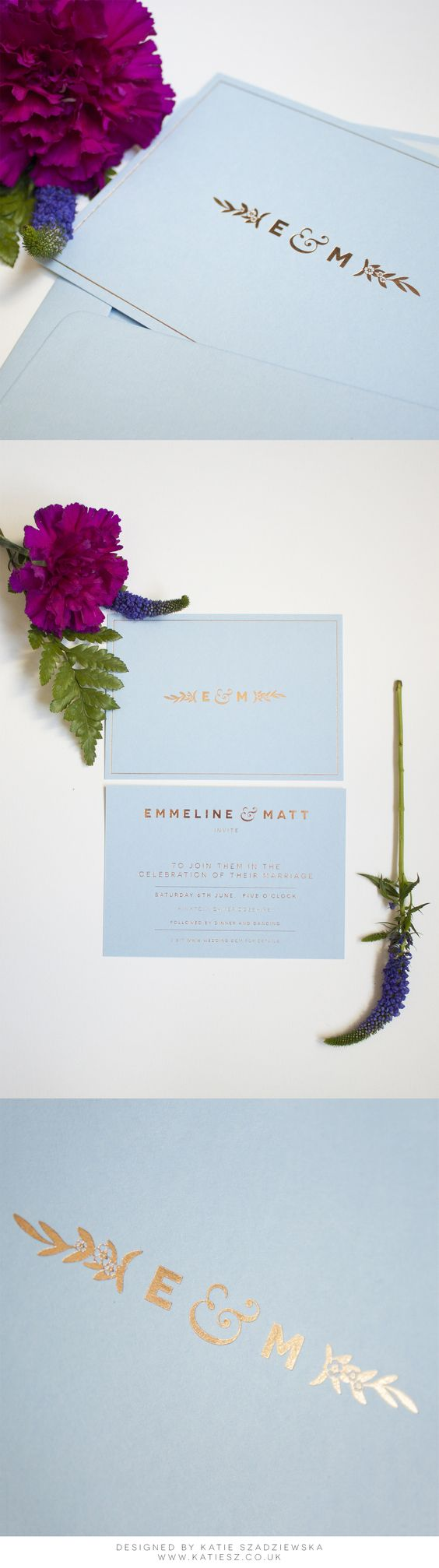Elegant, Minimal & Modern Forget-Me-Not Floral Wedding Invitation. Colorplan Azure Blue with Rose Gold foil by www.paperbowlondon.com
