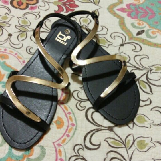 NEW black and gold sandals sz. 8 1/2 8.5 Brand new, size 8 1/2 Shoes Sandals