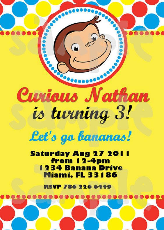 Curious George Birthday Invitation by HeartsandScraps on Etsy: