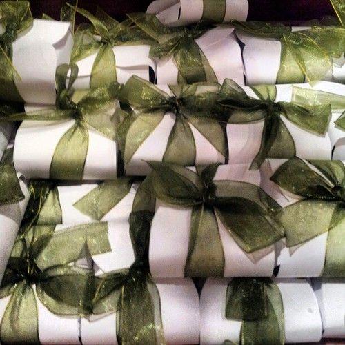 green organza ribbon wrapped favors