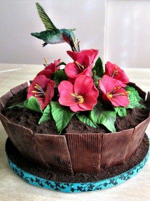 Hummingbird decorated cake.
