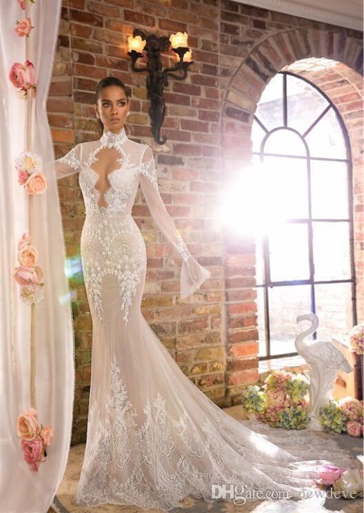Elihav Sasson Mermaid Wedding Dress With Long Sleeves High Neck Vestidos De Noiva Hollow Back Lace Country Bridal Gowns Beautiful Mermaid Wedding Dress Big Merm Country Bridal Gown Mermaid Wedding Dress