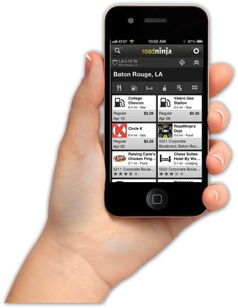 Road Ninja-See all food, gas, lodging, pharmacy, and entertainment options at upcoming exits.