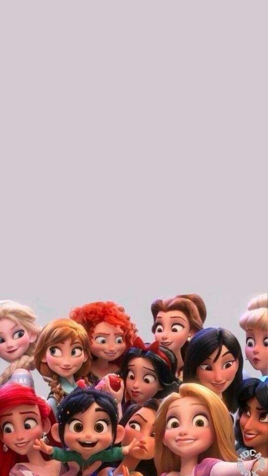Vanellope And The Disney Princesses Lock Screen Phone Wallpaper