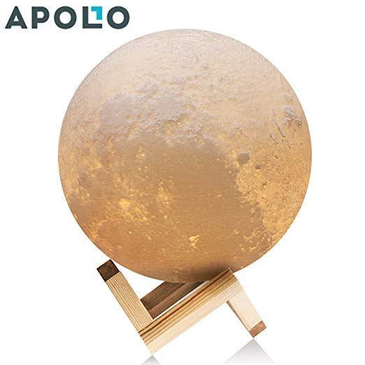 Amazon Com Apollo Box 4 7 Inch 3d Printing Moon Lamp Smart Touch Control Rechargeable Led Moon Night Light With Mult Apollo Box Best Desk Lamp Bedroom Colors