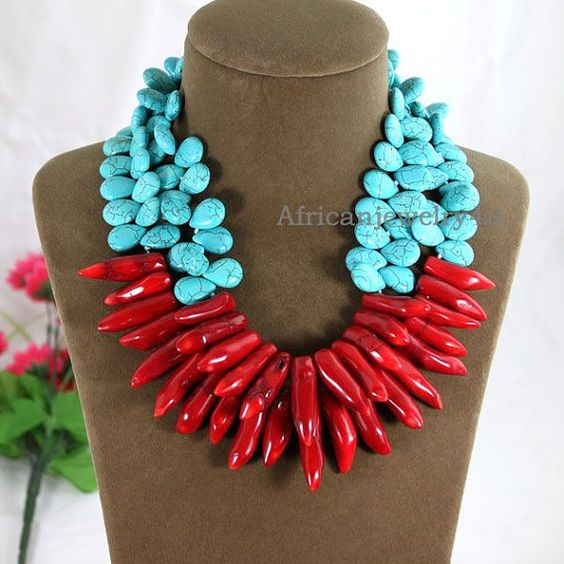 Handmade Chunky Turquoise NecklaceRed Coral by Africanjewelry4u