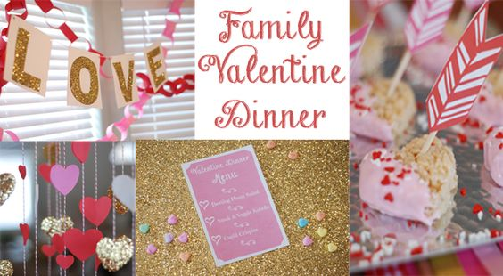Valentine's dinner printables, menu, and decoration ideas! Make the holiday a fun family event :-):