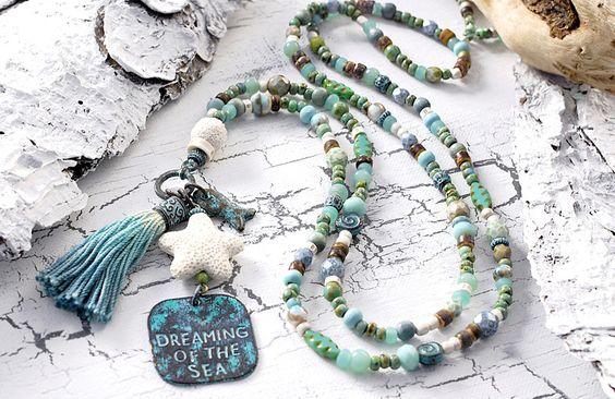 Charm- & Bettelketten - ★ Dreaming of the Sea ⚓ traumhafte Kette ★ Patina - ein Designerstück von Lunas-SchmuckART bei DaWanda