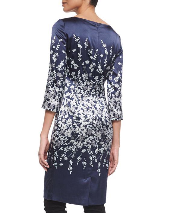 Moonlit Floral-Print Degrade Sheath Dress