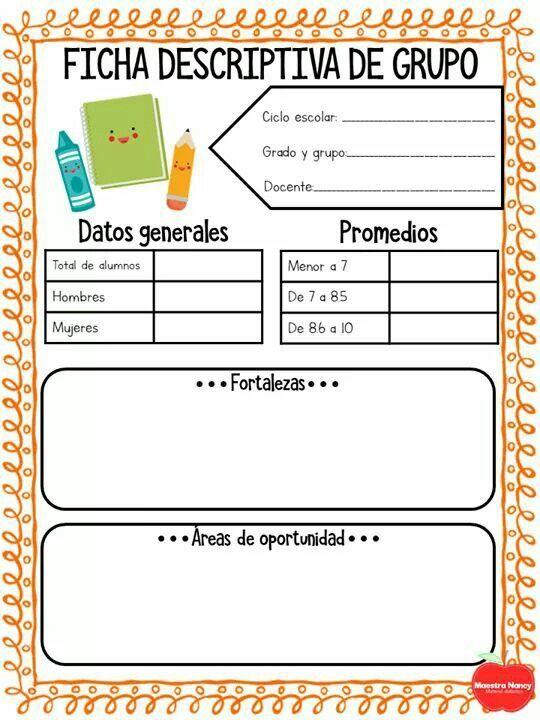 Fichas Descriptivas Para Primaria Y Preescolar Formato Dia Instrumentos De Evaluacion Preescolar Evaluaciones Para Preescolar Fichas Descriptivas Por Alumno