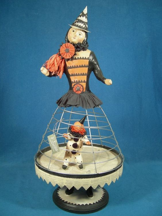 """Nicol Sayre Halloween Witch Cage Doll, Retired, Seasons of Cannon Falls, 21.5"""""""