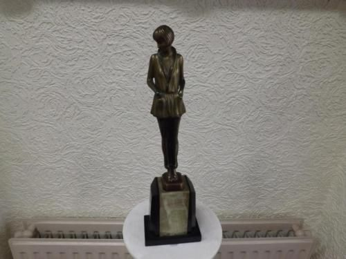 Art-Deco-Bronze-by-Josef-Lorenzl-Girl-genuine-not-reproduction-12-in-height