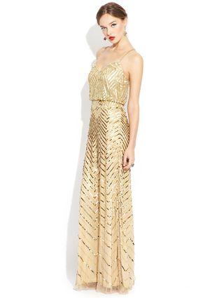 ADRIANNA PAPELL Gold Long Blouson Sequin Dress $179.99 ...