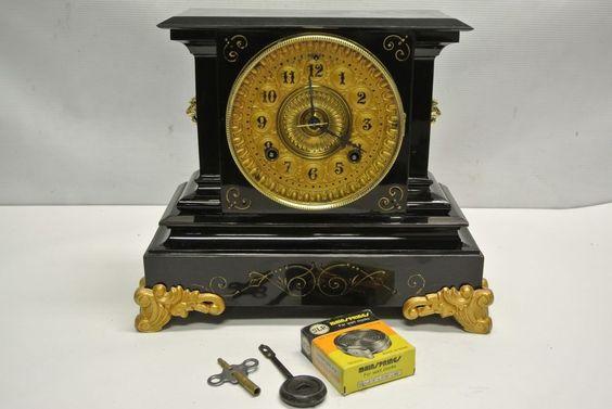 Antique 1882 Ansonia Black Cast Iron Mantel Clock w/ Key & Pendulum - RESTORED