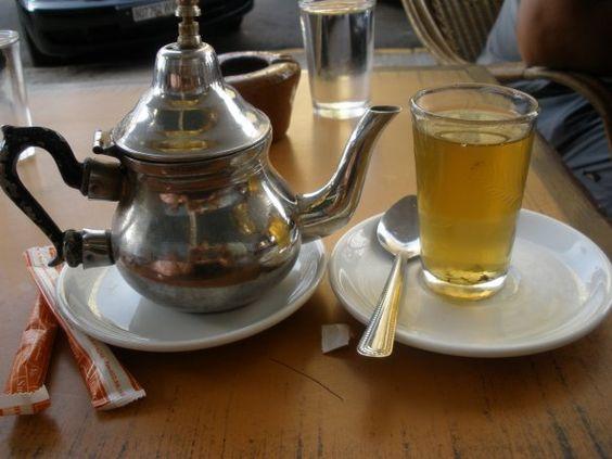 Moroccan Mint tea @ a cafe in Casablanca, Morocco.