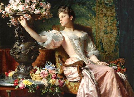 Ladislas Wladislaw von Czachorski (1850-1911) Lady in a Purple Dress with Flowers: