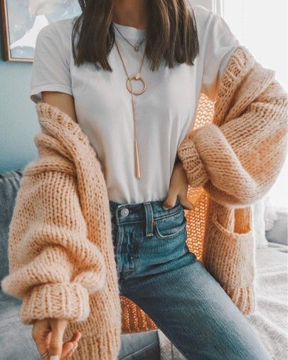 Chunky knit peach cardigan