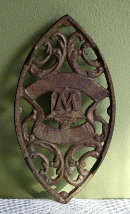 Antique Trivet.  Cast Iron Trivet with  W Letter Decor. Functional Trivet or Rustic Home Wall Hanging Decor. by AnythingDiscovered on Etsy