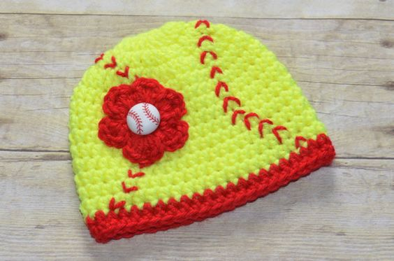 Hey, I found this really awesome Etsy listing at https://www.etsy.com/listing/128711518/crochet-softball-beanie-hat-for-girls