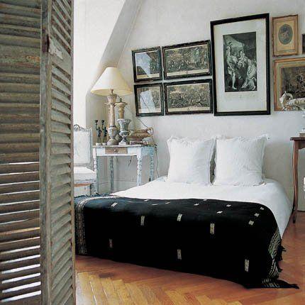 black and white bedroom - love the blanket