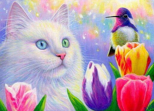 Aceo Original Cat Hummingbird Tulip Flowers Spring Painting Art Miniature Spring Painting Cat Art Art