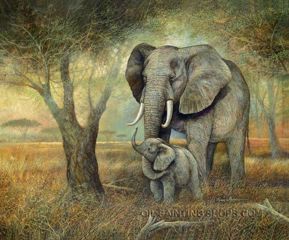 "Beautiful Old Oil Painting Animal Elephant, Size: 40"" x 30 ... - photo#44"