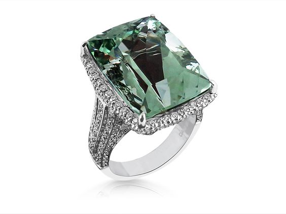 Alson Signature Collection Ring, Fashioned in 18K White Gold, Featuring a Cushion Shaped Prasiolite, Measuring 19X14MM, Accented with Round Diamonds =1.00ct Total Weight