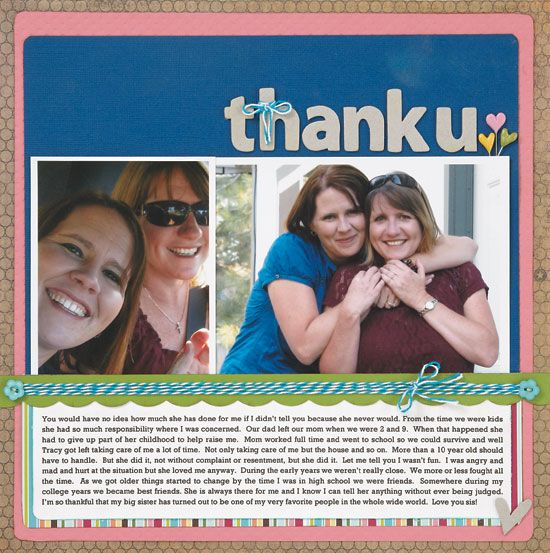 """Thank U"" scrapbook layout by Shannon Brouwer, as seen on the Creating Keepsakes editors blog. #scrapbook #scrapbooking #creatingkeepsakes"