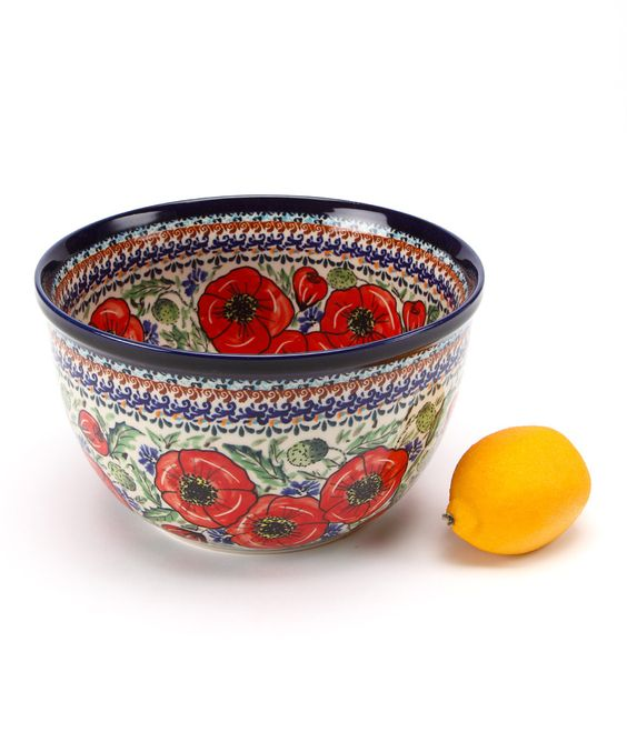 Red Poppy Medium Mixing Bowl by Pottery Avenue on #zulily