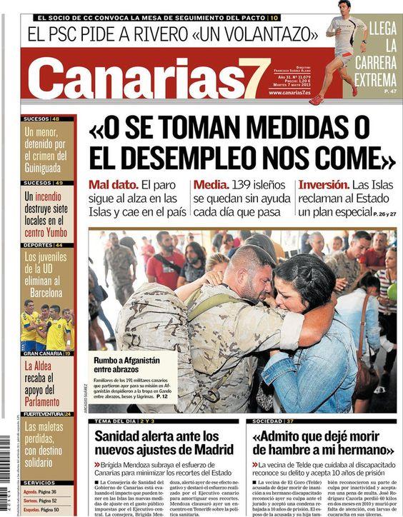 Los Titulares y Portadas de Noticias Destacadas Españolas del 7 de Mayo de 2013 del Diario Canarias 7 ¿Que le parecio esta Portada de este Diario Español?