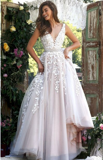Fancy Sleeveless V Neck Ivory Lace overlay Nude Tulle Long Coast Prom Dress wityh Crystal Ribbon: