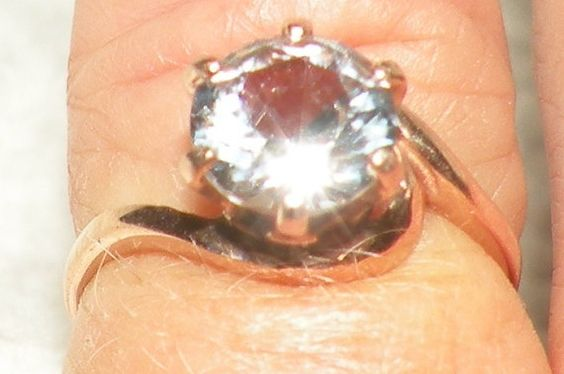 14kt Rose Gold White Sapphire Engagement Ring by Candiesthings
