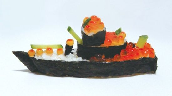 """Battleship Sushi by Mayuka Nakamura:  """"Gunkan maki"""" (軍艦巻) or literally """"battleship roll sushi"""" is a popular type of sushi, typically with ikura or uni.  Nakamura took that imagery and went one step further, recreating 11 different warships for her graduate work. via"""