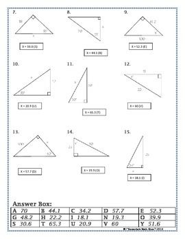 Printables Trigonometry Practice Worksheets right triangles sin cos tan soh cah toa trig riddle practice trigonometry worksheet