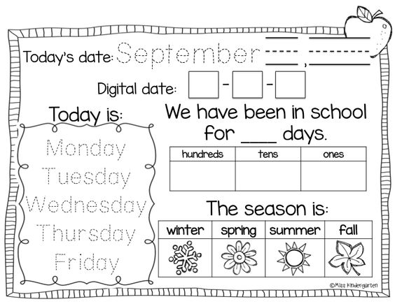 Calendar Activities For Kindergarten Students : Calendar time using interactive notebooks