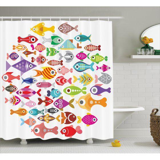 Home Kids Shower Curtain Fishing Decor Shower Curtain