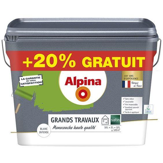 Peinture mono-couche blanc satin 10L+20% ALPINA