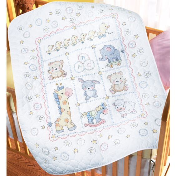 The Lullaby Friends Baby Quilt Stamped Cross Stitch Kit from ... : bucilla cross stitch baby quilts - Adamdwight.com