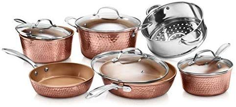 Gotham Steel Hammered Collection 10 Piece Premium Cookware Pots And Pan Set With Triple Coated Nonstick Cop Copper Cookware Set Cookware Set Copper Cookware