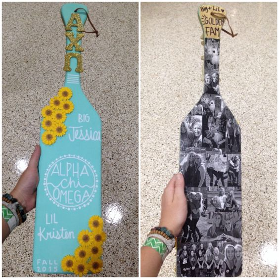 Alpha Chi Omega big little paddle! Tags: sorority, paddle, AXO, sunflowers, blue, picture collage